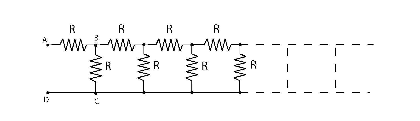 hight resolution of equivalent resistance in ladder circuit closed