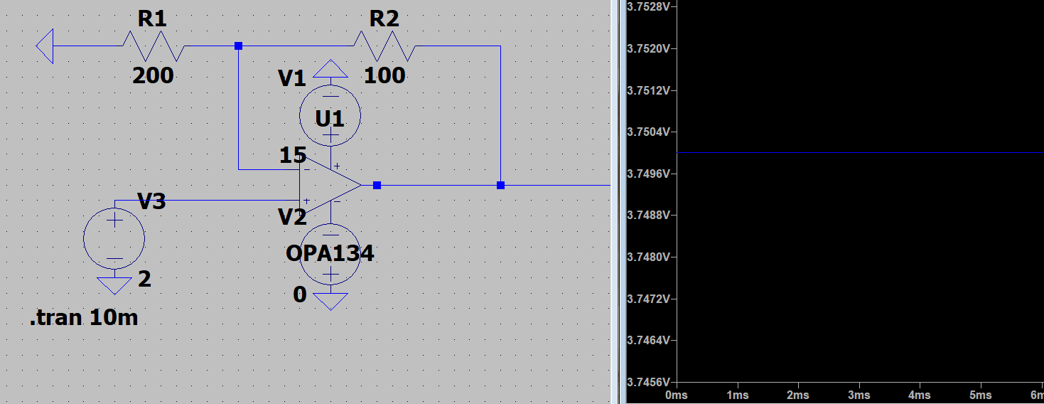 operational amplifier - Non inverting op-amp gain LTspice? - Electrical Engineering Stack Exchange