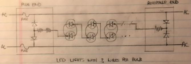 i want to repair an led christmas light string with 3 wires