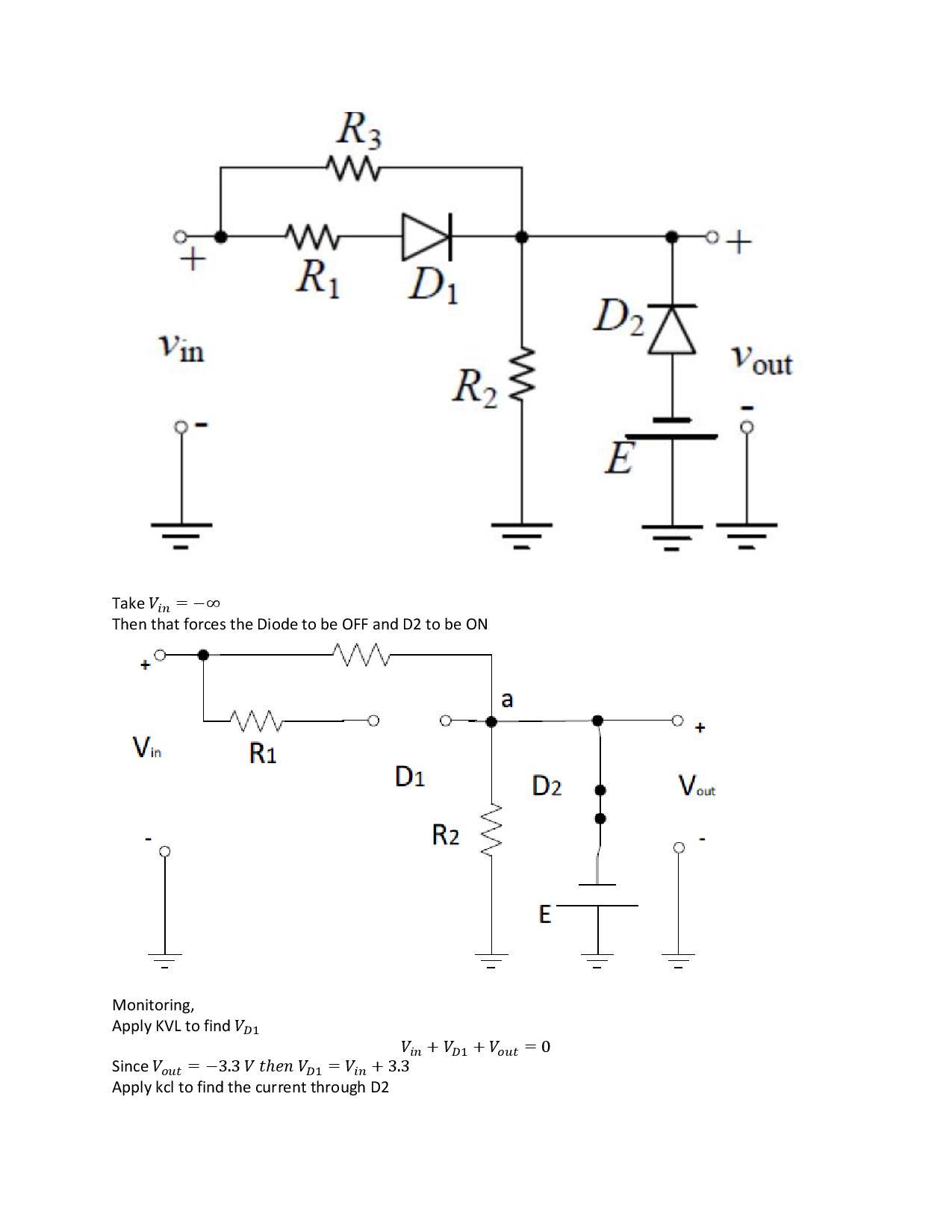 Plotting Vout Vs Vin Curves For An Ideal Diode Resistor