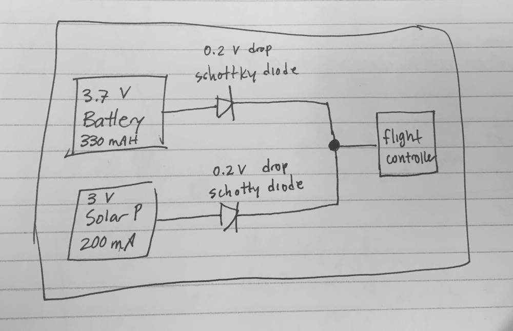 medium resolution of wiring battery and solar panel to drone to extend flight time wiring diagram for solar panel to battery