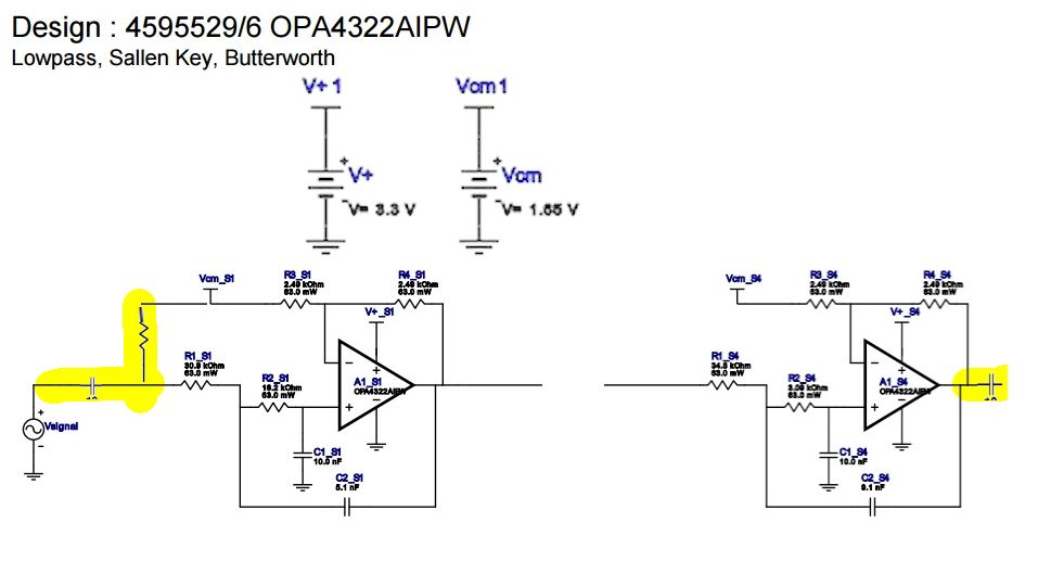 Low pass sallen key filter using single supply for audio