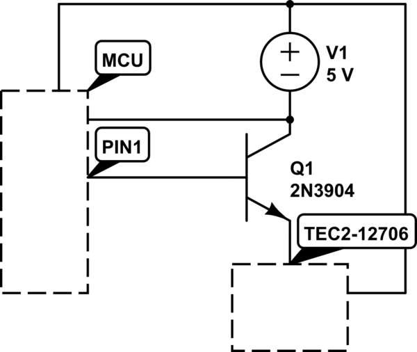 Transistor weak current when switched from microcontroller