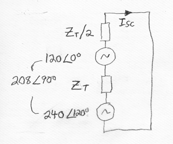 Short circuit current of 3-phase open delta transformer