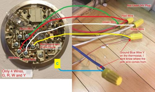 small resolution of how do i hook up a new 5 wire cable to an existing 4 wire furnace 4 wire thermostat wiring blue red green white