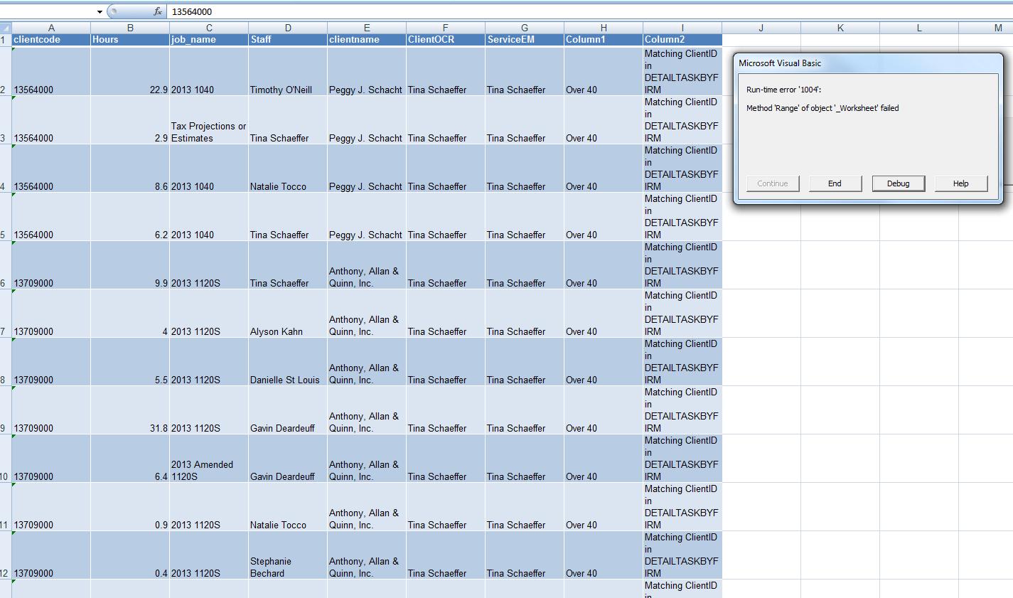 Download Excel Runtime Error