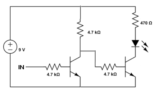 Light up an LED with an NPN transistor in active low