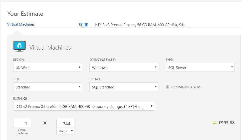 Azure VM with SQL pricing calculator vs estimated price in