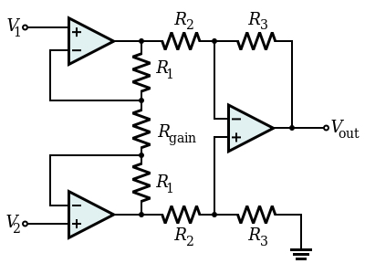 Programmable gain instrumentation amplifier with R-2R