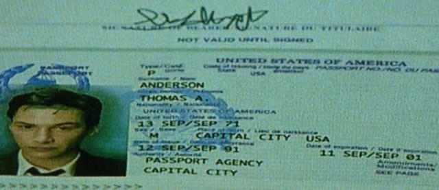 Identity page from Thomas A. Anderson's passport