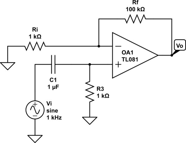 circuit diagram of non inverting amplifier chinese 125cc belt op amp effect on the ac and dc components schematic