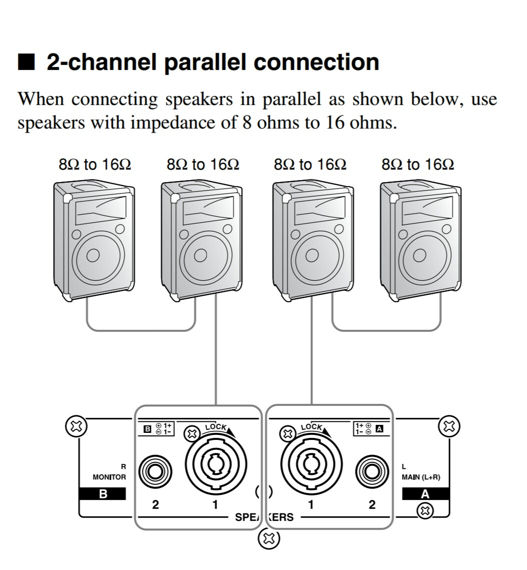 hight resolution of amplifiers how should i wire multiple speakers for a live rh music stackexchange com wiring 4 8 ohm speakers wiring 6 8 ohm speakers