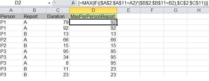 Excel: Using to columns to find the max value in a 3rd