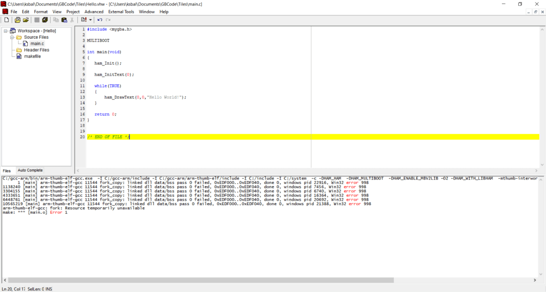 arm-thumb-elf-gcc: fork: Resource temporarily unavailable make: *** [main.o] error in Visual HAM SDK