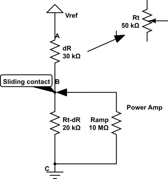 How does electric current flow through a potentiometer