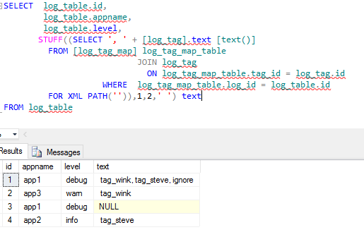 sql server - T-SQL. concatenate strings while doing multiple join and group by - Stack Overflow