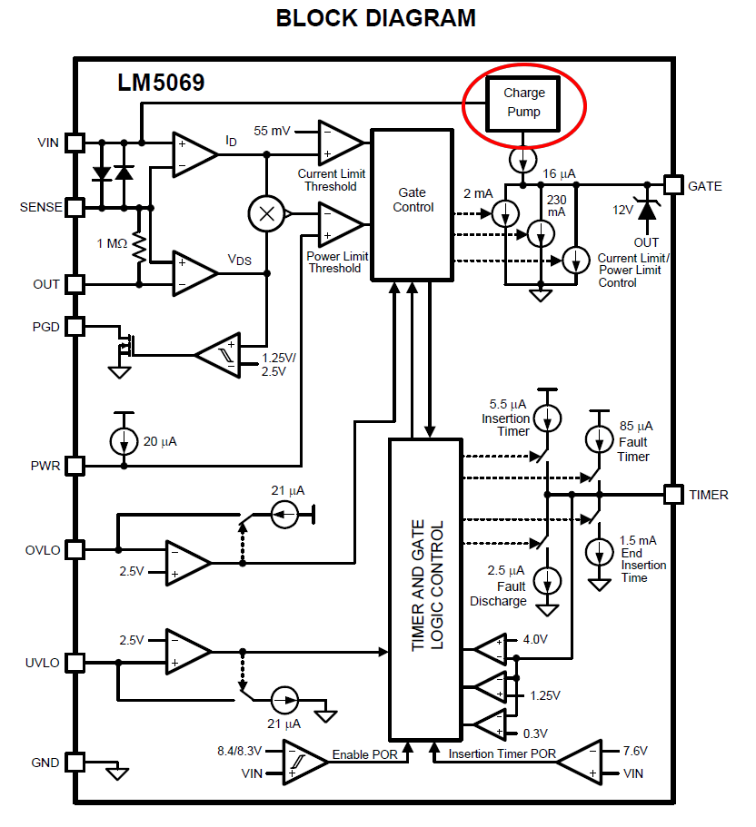 Floating charge pump for high side N-channel MOSFET bias