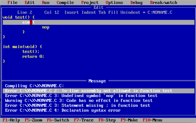 How to write inline Assembly with Turbo C 27.27? - Stack Overflow