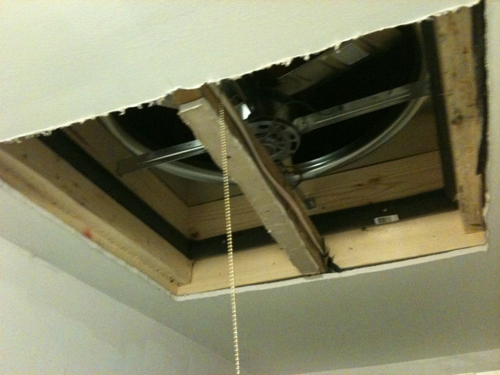 medium resolution of picture of the ceiling with a hole in it for a whole house fan the