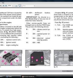 page from manual showing fuse location electrical location of fiat panda  [ 1280 x 800 Pixel ]