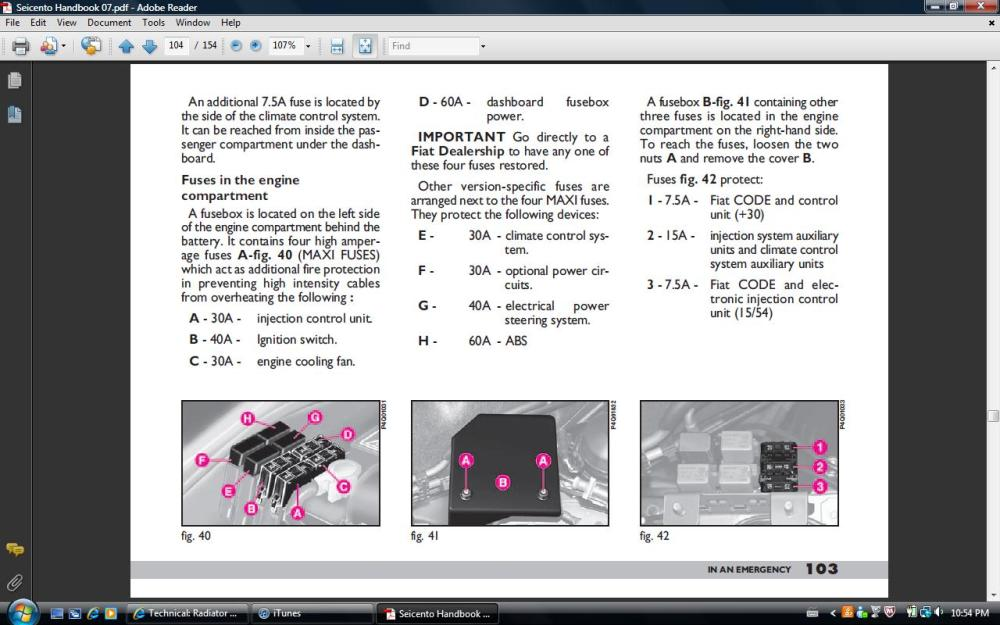 medium resolution of page from manual showing fuse location