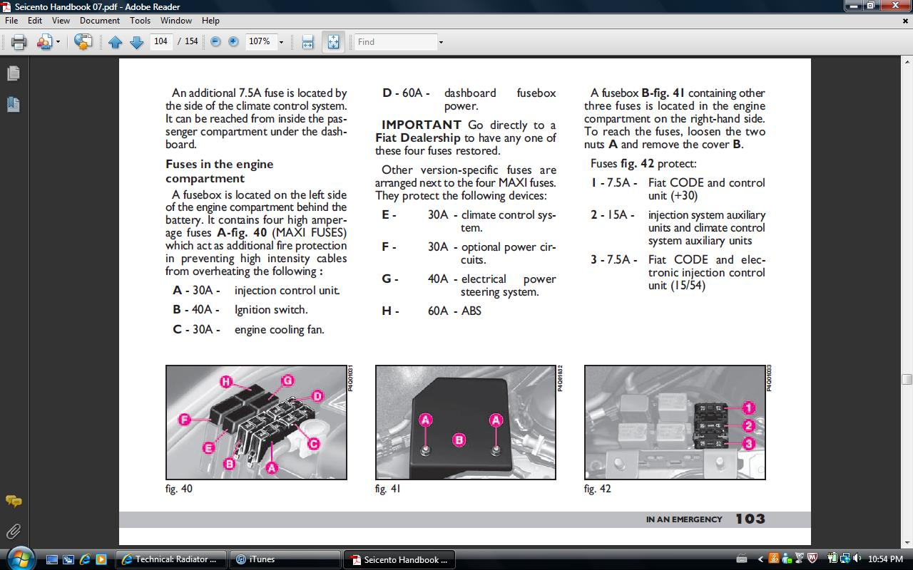 hight resolution of page from manual showing fuse location
