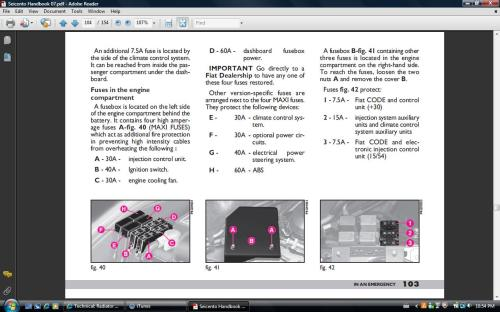 small resolution of page from manual showing fuse location