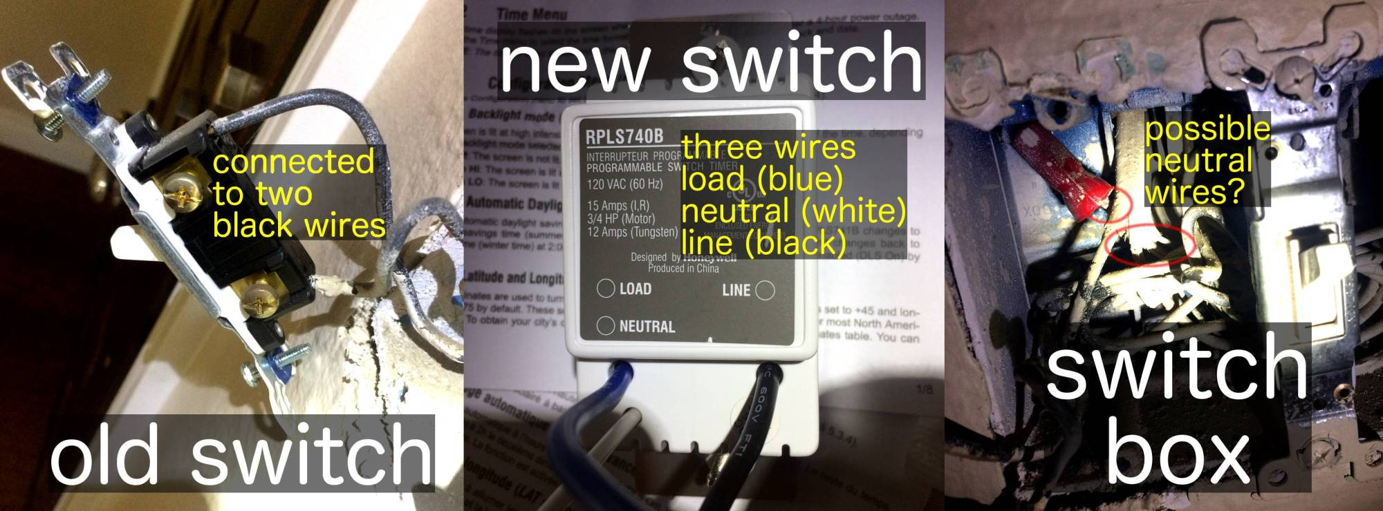 hight resolution of here is a picture of the old switch the new switch and what s inside electrical wiring lighting switch
