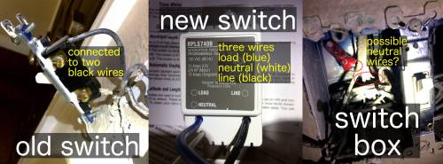 small resolution of here is a picture of the old switch the new switch and what s inside electrical wiring lighting switch