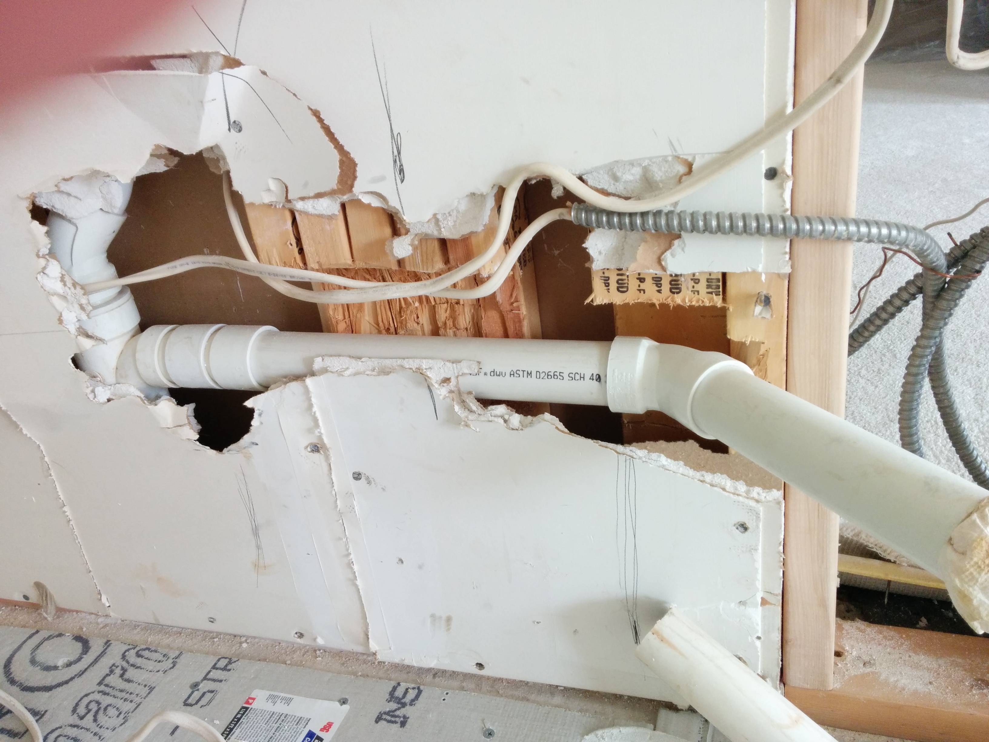 kitchen contractor turquoise chairs walls - plumbing cuts through five studs. is ok? home ...
