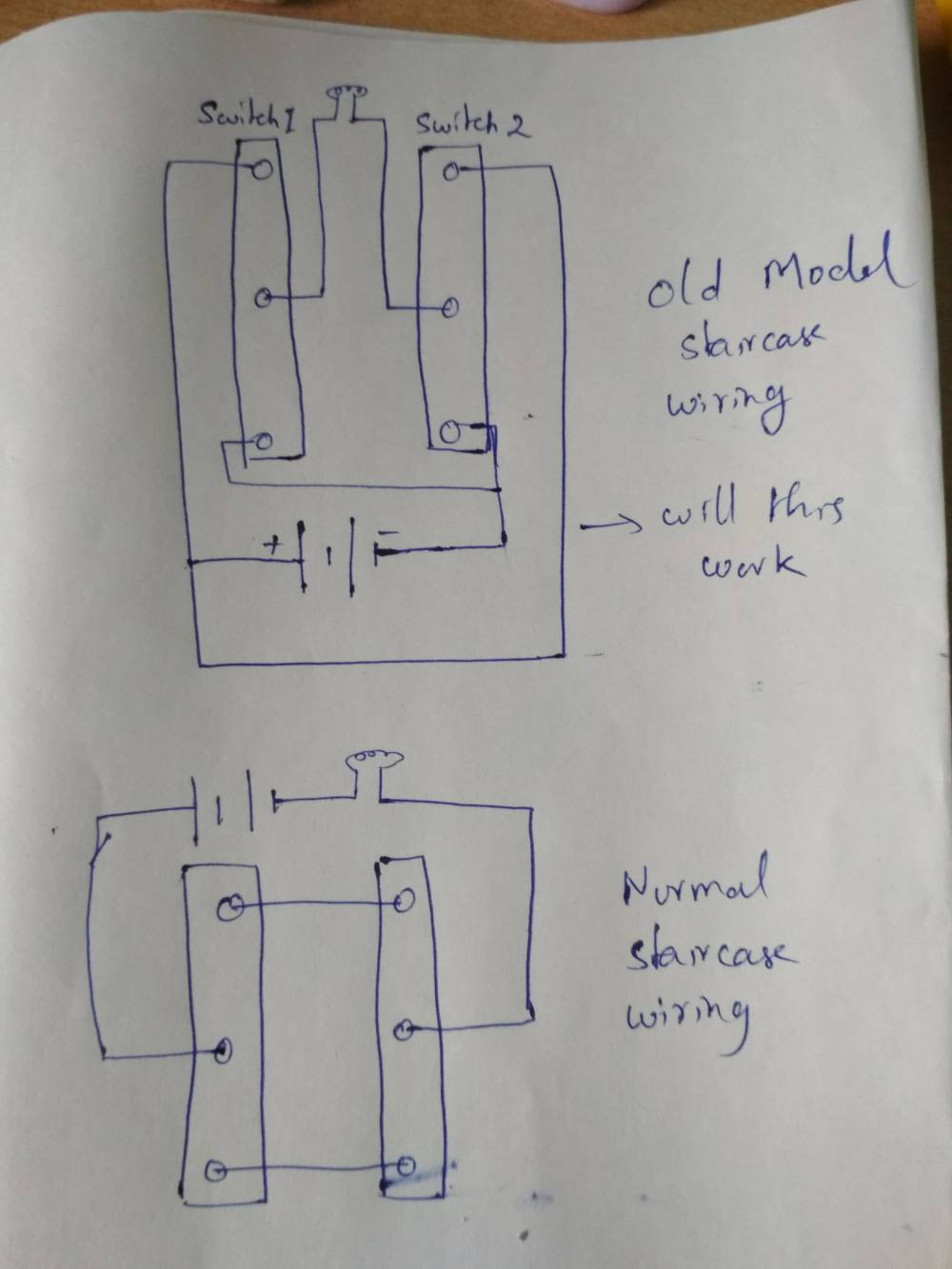 medium resolution of old model and normal model staircase wiring