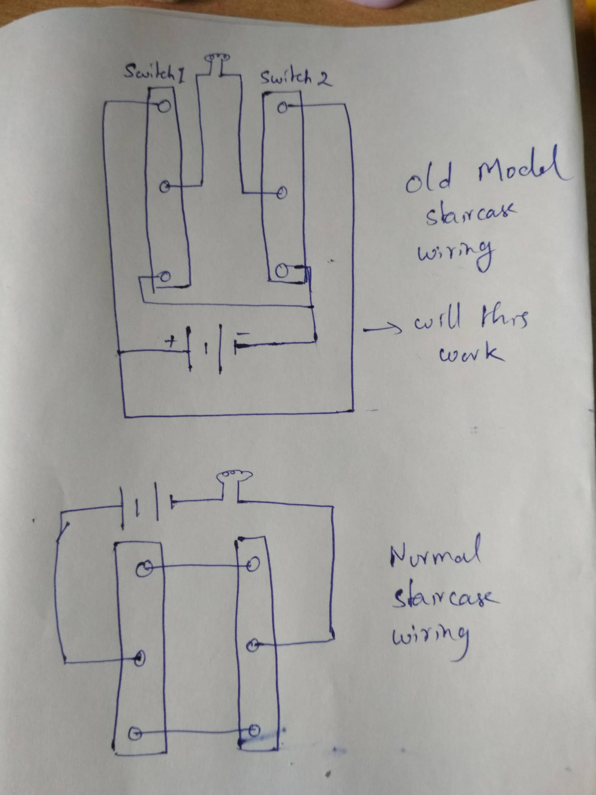 hight resolution of old model and normal model staircase wiring