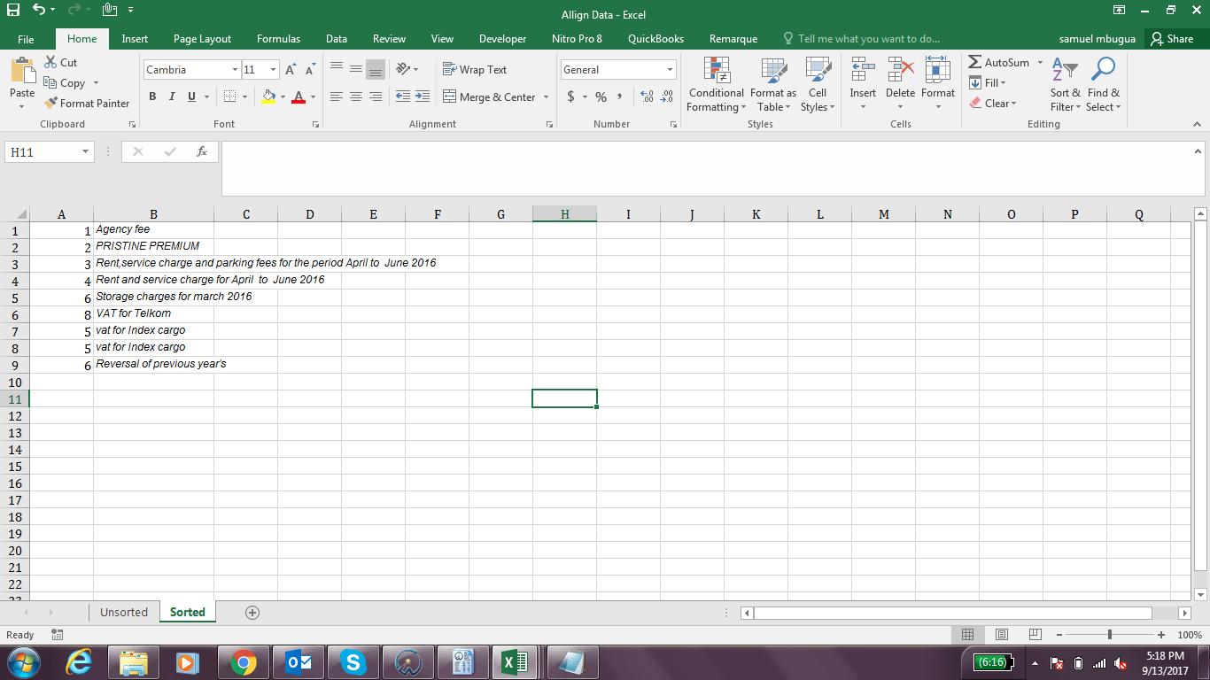 Aligning Data In Two Columns In Excel Vba