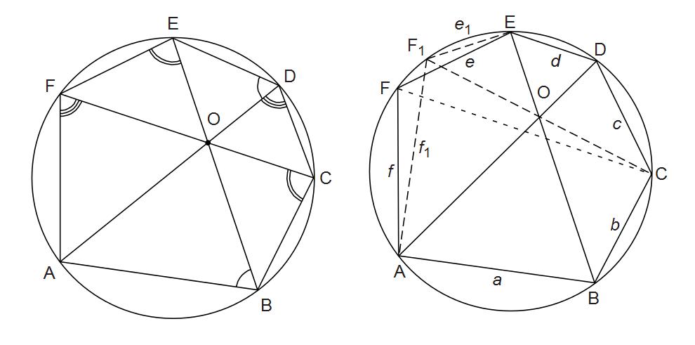 Euclidean Geometry: Diagonals of Cyclic Hexagon