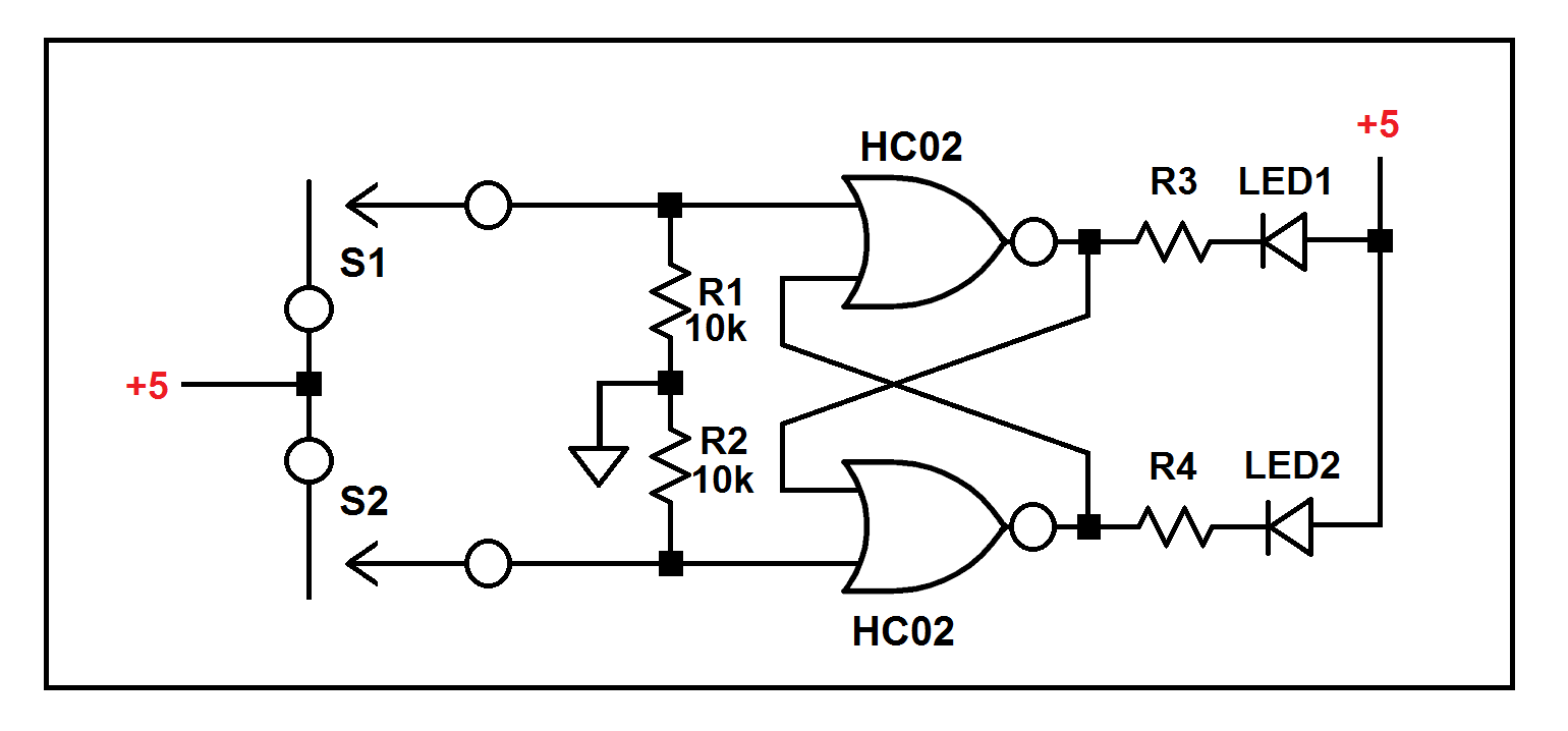 Led Sr Flipflop With 2 Npn Transistors Initial State