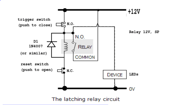 ac How to make a latchingunlatching relay circuit with