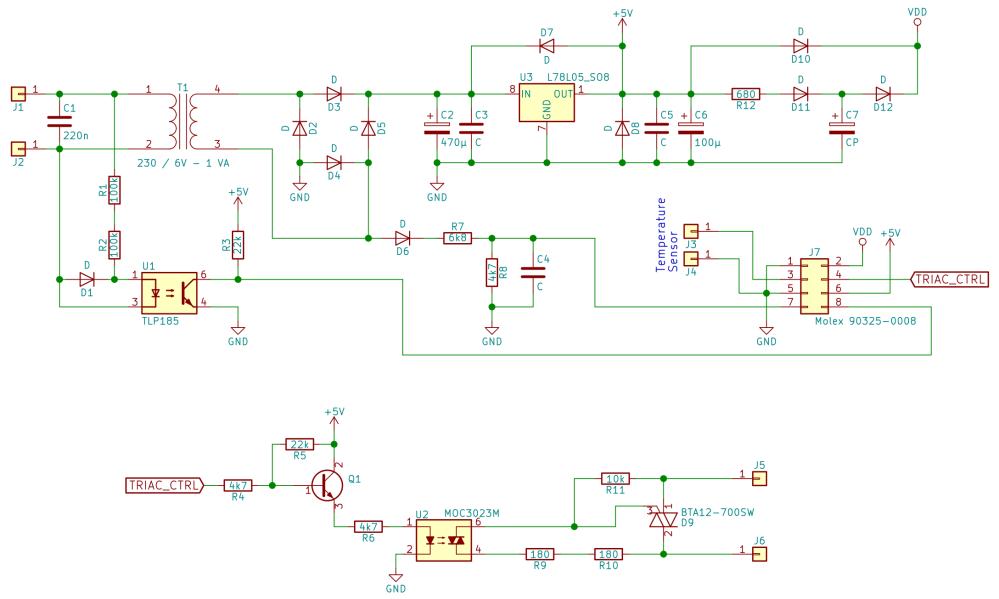 medium resolution of schematic of heater power board control triac reverse engineering zero crossing