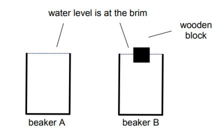 Does the mass of a beaker filled with water change due to