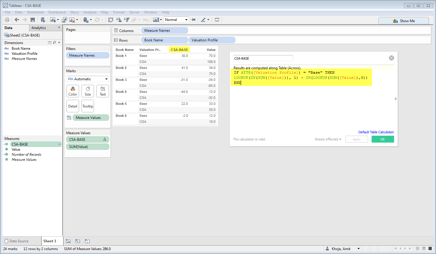 Tableau Column Difference