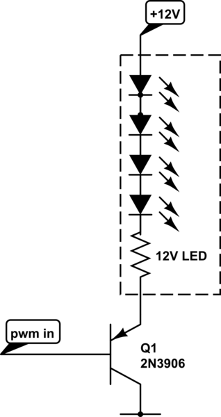 Dimmer effect (fade) on 12v LED using transistor and