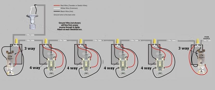 wiring diagram for 3 way switch 6 lights