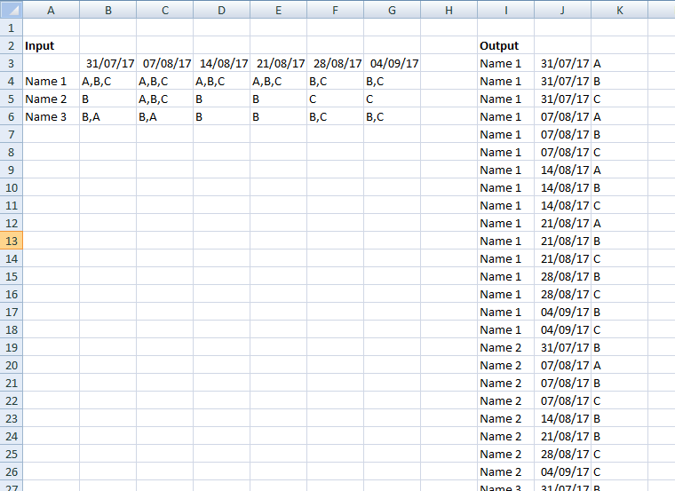 Excel Table With Multiple Arrays To List