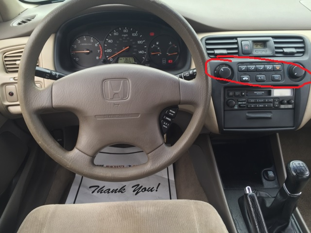 2005 honda accord ac wiring diagram communication powerpoint 1999 can t change ventilation mode motor vehicle interior of car with buttons highlighted hvac