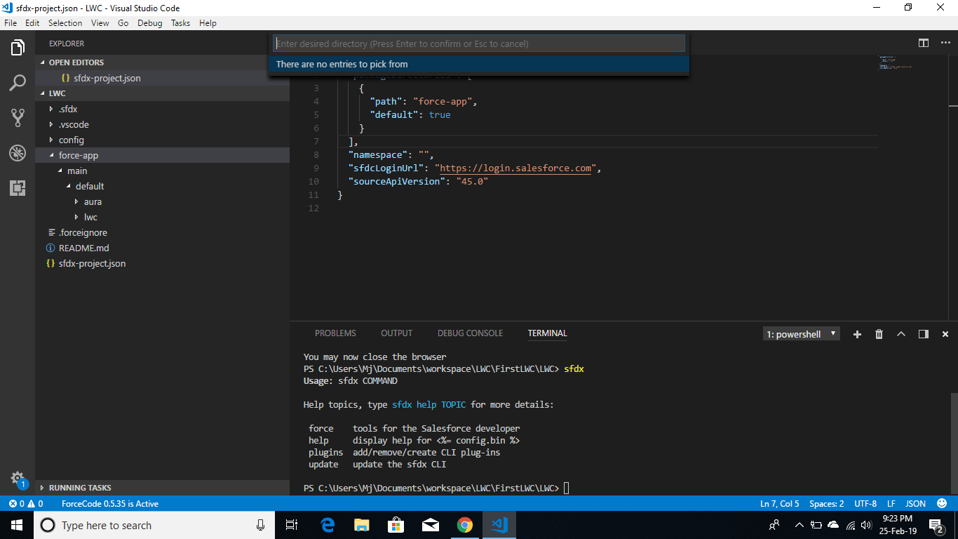 salesforcedx  Getting an error There are no entries to