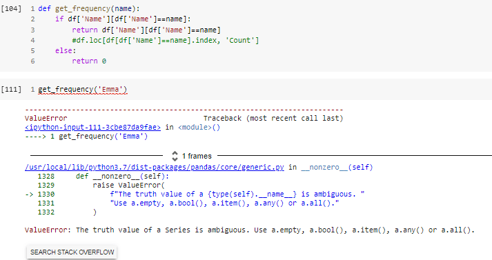 My attempt at creating a function that returns the count of name in 'Name'