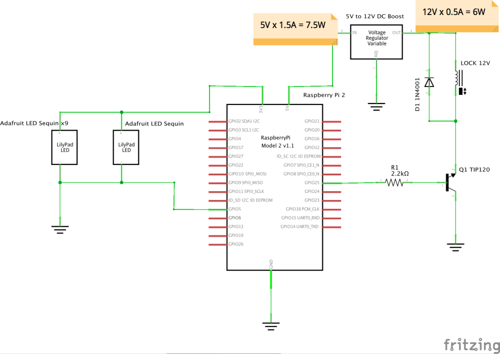 medium resolution of raspberry pi with leds and lock solenoid fritz diagram