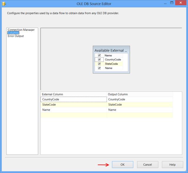 OLE DB Source Editor - Columns