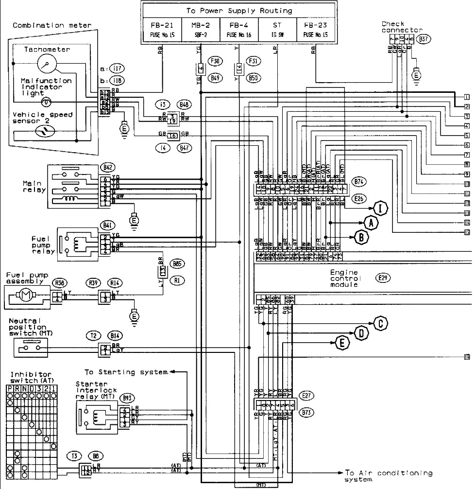 [WRG-6653] 1995 Subaru Impreza Engine Sensor Diagram