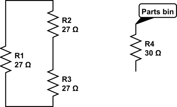 How can 4 resistors of 30ohms each be connected so you end