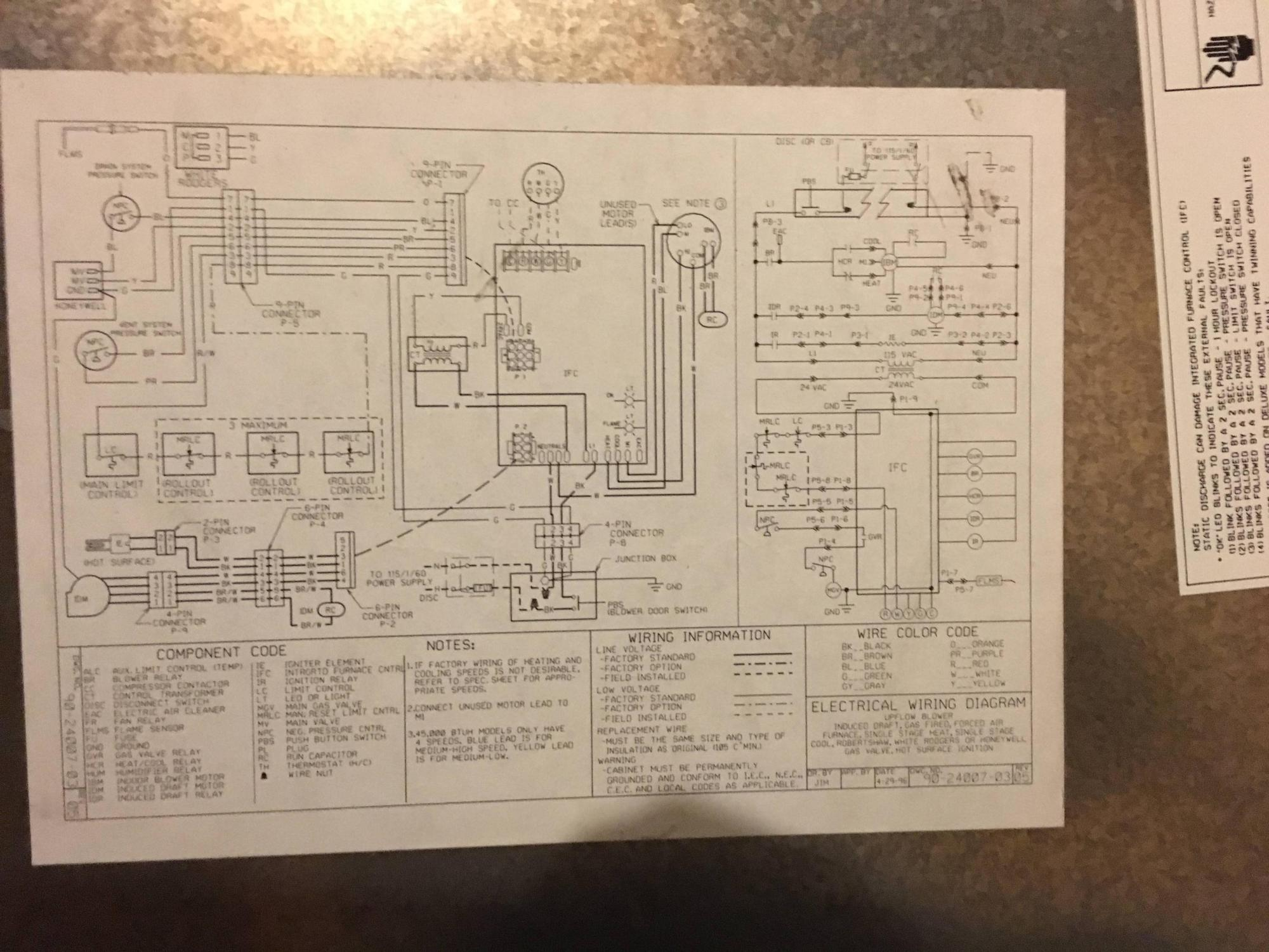 hight resolution of also the ifc model number is 1012 925a and the hvac unit is a rheem classic 90 plus i don t know the if the number on the wiring diagram is the model